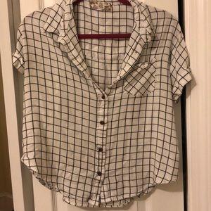 Geometric short sleeves button down, size XL